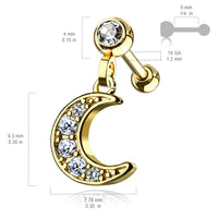 1pc CZ Gem Moon Dangle Surgical Steel Tragus Cartilage Barbell Ring