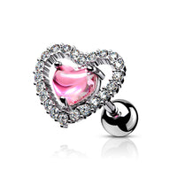 1pc CZ Gem Lined Heart Surgical Steel Tragus Helix Ear Cartilage Stud Ring