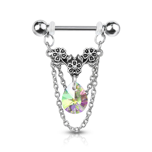 PAIR Gem Flowers, Crystal Pear & Chains Dangle Nipple Rings Shields Body Jewelry