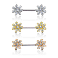 PAIR CZ Gem Paved Flower Nipple Barbell Rings Shields