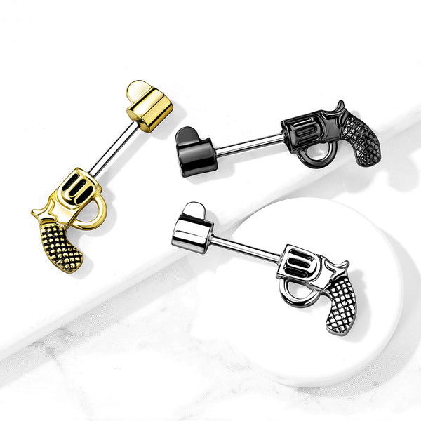PAIR Revolver Pistol Gun Shaped Nipple Rings Shields Steel Barbells Body Jewelry