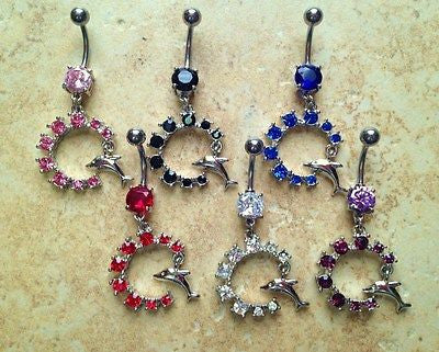 6pcs Dolphin Gem Dangle Navel Rings Belly Naval
