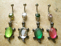 4pcs Turtle Gem Belly Rings