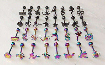 16pcs 3D Design Titanium Anodized Tongue Rings (choose color)