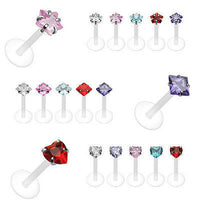 5pc PTFE Labrets Wholesale Lot - Heart, Square or Star Gem