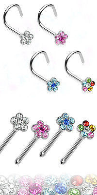 4pcs Flower Gem Nose Rings, choose Screws or Studs