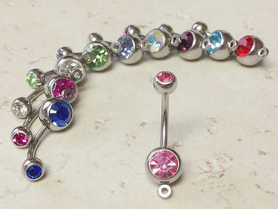 10pc Lot Add-A-Charm Gem Belly Rings