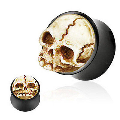 PAIR Skull Double Flare Organic Horn Plugs