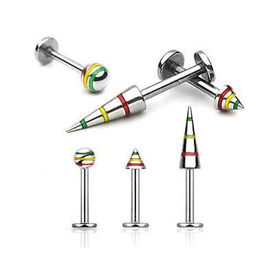 3pcs Rasta Striped Labrets 14g