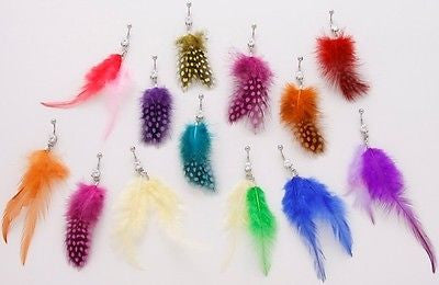 10pcs Neon Feathers Mix Belly Rings Navel naval