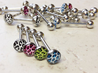 20pcs Leopard Skin Logo Tongue Rings