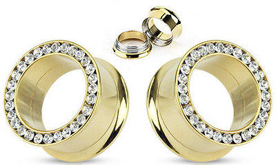 PAIR Gold Internally Threaded Gem Rim Tunnels