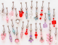 12pcs Handmade Crystal Bead Mix Dangle Belly Rings Navel