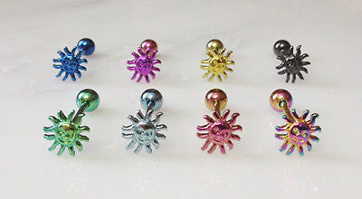 8pcs Titanium Anodized Sun Tongue Rings