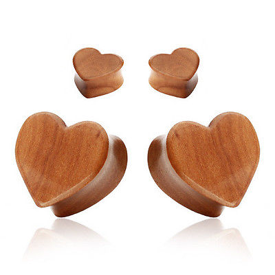 PAIR Heart Organic Red Cherry Wood Ear Plugs