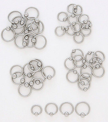 10pcs Steel Captive Bead Rings 10g,12g,14g,16g,18g or 20g