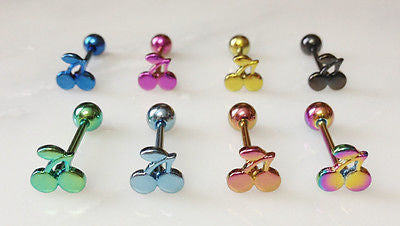 8pcs Titanium Cherries Tongue Rings Cherry