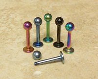 6pcs Titanium Anodized 316L Steel Ball Labrets
