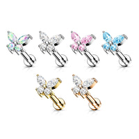 1pc CZ Gem Butterfly 16g Labret Internally Threaded Steel Tragus Helix