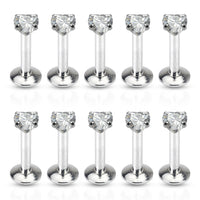 10pcs Clear Prong Set Heart CZ Gem 16g Internally Threaded Labrets