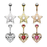 6pc Gem Centered Filigree Star & Heart Belly Rings