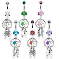 6pcs Dream Catcher Gem Dangle Belly Rings