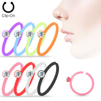 8pcs Crystal Gem Set Assorted Color Clip-On Nose Hoop Rings