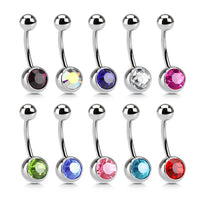 10pcs Single Crystal Gem Belly Rings