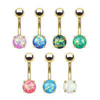 7pcs Opal Glitter Prong Set Belly Rings Gold