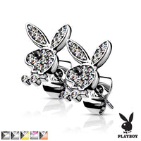 PAIR Playboy Bunny Earrings Paved Gem 20g Butterfly Clasp 316L Stainless Steel