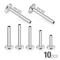 10pk Replacement 316L Surgical Steel Internally Threaded Labret Post Bars