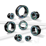 PAIR Abalone Rimmed Black Screw Fit Tunnels Earlets Gauges Plugs Body Jewelry