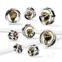PAIR Gold Cobra Screw Fit Tunnels Earlets Gauges Plugs Body Jewelry