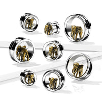PAIR Gold Elephant Screw Fit Tunnels Earlets Gauges Plugs Body Jewelry