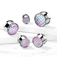 PAIR Hologram Fish Scale Steel Double Flare Tunnels Ear Plugs Gauges