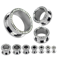 PAIR Gem Rimmed Steel Screw Fit Tunnels