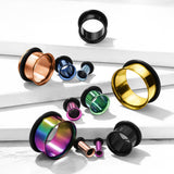 PAIR Rainbow Single Flare Tunnels Ear Plugs Gauges PVD Plated Surgical Steel