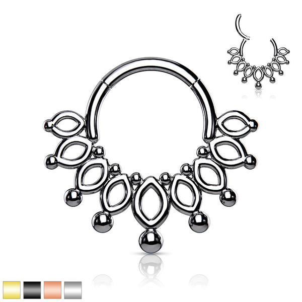 1pc Beaded Crown Hinged Segment Ring 16g Septum Clicker Surgical Steel