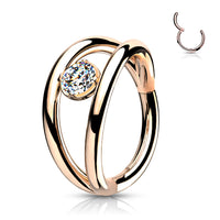 1pc Double Hoop CZ Gem Hinged Segment Ring 16g Septum Clicker Surgical Steel