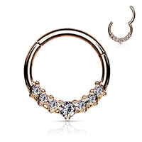 1pc Lined CZ Gem Fan Hinged Segment Ring 16g Septum Clicker Surgical Steel