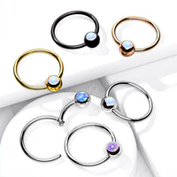 1pc Opal Ball Hinged Segment Ring Septum Clicker Captive Bead Helix Cartilage