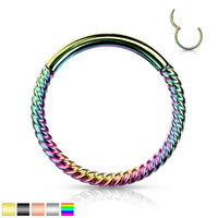 1pc Braided Style Hinged Segment Ring Septum Clicker 316L Surgical Steel