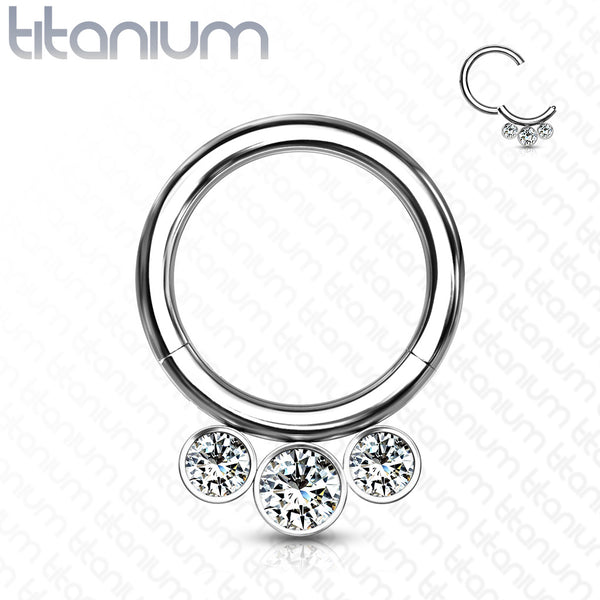 1pc Solid Titanium 3 Crystal Gems Hinged Segment Ring Helix Septum Clicker