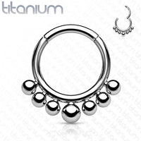 1pc Solid Titanium Seven Beads Hinged Segment Ring Helix Septum Clicker