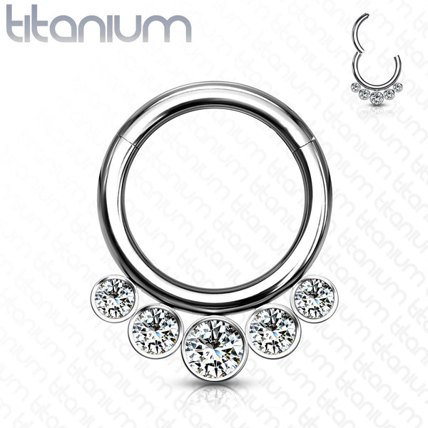 1pc Solid Titanium 5 Crystal Gems Hinged Segment Ring Helix Septum Clicker