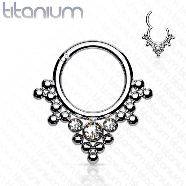 1pc Solid Titanium 3 Gems & Beads Hinged Segment Ring Helix Septum Clicker