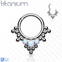 1pc Solid Titanium 3 Opals & Beads Hinged Segment Ring Helix Septum Clicker