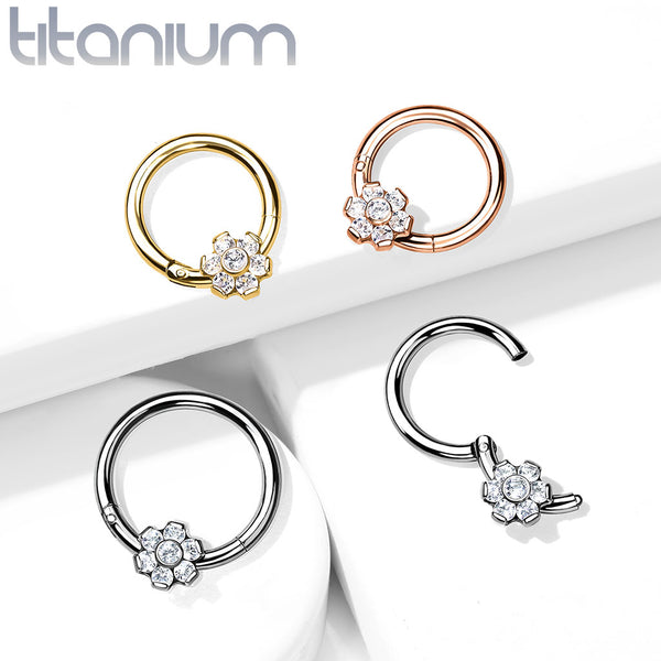 1pc Titanium CZ Gem Flower Hinged Segment Ring Helix Septum Clicker