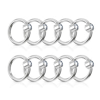 10pcs Clear CZ Gem Flat Back Steel Captive Bead Rings