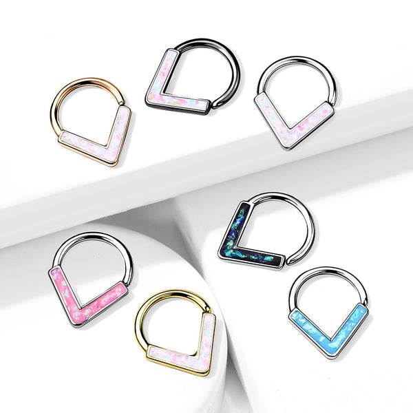 1pc Chevron Opal Glitter Bendable Ring Nose Septum Cartilage Helix Daith Tragus
